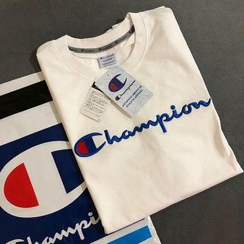 Pure cotton short-sleeved T-shirt men and women round neck loose large size half-sleeved champion tshirt