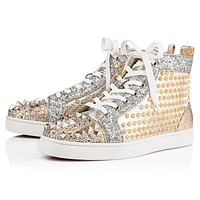 Christian Louboutin Cl Mixkeoshell Flat Silver/light Gold Leather 18s Shoes 1180213s017