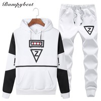 Casual set men hooded tracksuit track hidden suspenders Black men's sweat suits set Pockets white Z print
