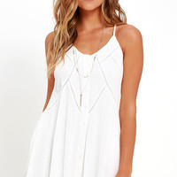 By the Beach Ivory Embroidered Swing Dress
