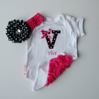 Baby Girl Personalized Monogram Onesuit Rosette Ruffle Butt Black Hot Pink Polka Dots With Hair Clip and Headband
