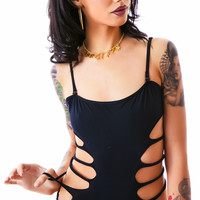 Tripp NYC Side Slashed Body Suit Black