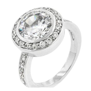 Gatsby Vintage Round Halo Engagement Ring | 5.5ct | Cubic Zirconia | Silver