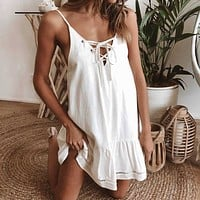 Summer Popular Women Sexy Lace-Up Bowknot Pleated Dress White