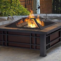 Outdoor Fire Pit Table Patio Furniture Backyard Metal Poker Fireplace Cover