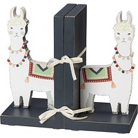 Llama Wooden Book Ends in White