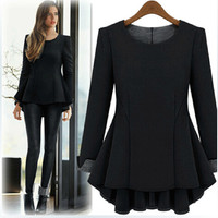 Long Sleeve O-neck Loose Shirt Tops