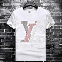 LV Louis Vuitton Hot Sale Men Casual Letter Diamond Pattern T-Shirt Top Tee White