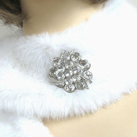 WEISS signed Domed Ribbon Brooch with Clear Rhinestones Vintage
