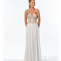 Terani 151P0027 Ivory & Nude Strapless Sweetheart Gown Prom 2015