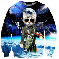 Sweatshirt Funny Printed Cat Long Sleeve Casual Top Clothing