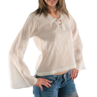 Tied Neckline Long Sleeve Shirt - FX1139 by Medieval Collectibles