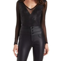 Black Combo Coated Knit and Mesh Bodysuit by Charlotte Russe