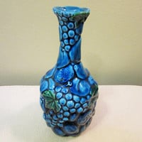 Sale Vase Inarco Blue Fruit Ceramic Pottery Home Decor Vintage blm
