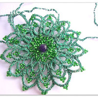 Lace tatted necklace, hand tatted long necklace green mandala talisman with purple jade pearl, original designed