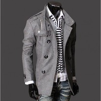 Men With Button Grey Stand Collar Casual Wool Blend Wind Coat M/L/XL/XXL@X700NH12S5F17g