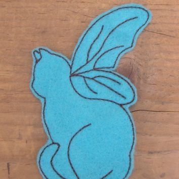Blue Cat With Wings Iron On Sew On Patch Applique