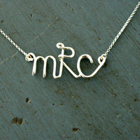 Monogram Necklace Sterling Silver Initial Necklace Personalized Bridesmaid gifts Girlfriend gifts