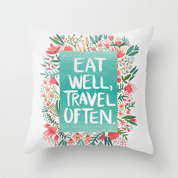 Eat Well, Travel Often Bouquet Throw Pillow by Cat Coquillette   Society6
