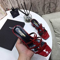 ysl women casual shoes boots fashionable casual leather women heels sandal shoes 26