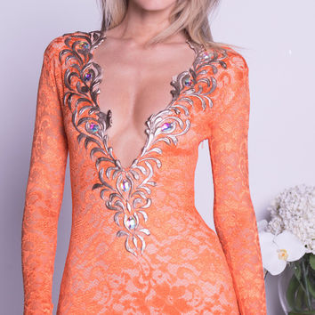 SPEARS LACE DRESS IN ORANGE WITH GOLD - 12 COLORS