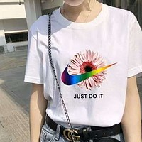 NIKE Summer Fashionable Women Men Casual Little Daisy Print Short Sleeve T-Shirt Top