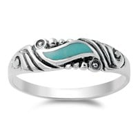 Women's Wave Turquoise Cute Vintage Ring New 925 Sterling Silver Band Sizes 4-10