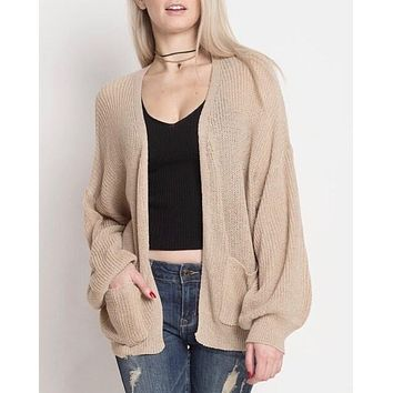 Final Sale - Dreamers - Lightweight Open Cardigan with Balloon Sleeves in Taupe