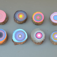 Unique Painted Tree Rings , Wall Decor Art on Wood , Modern Wood Wall Art