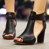 Spring New Style Big Size New Fashion High-heeled Sandals Woman Only one pair Black