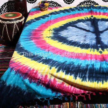 Tie Dye Peace Sign Tapestries , Psychedelic Tapestry , Love Tapestry, Bohemian tapestries, Throw Bedspread Queen Bed Dorm Decor