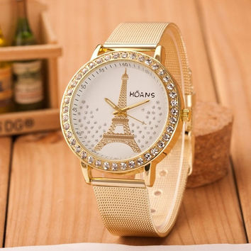 Ulamore Ladies Crystal Tower Gold Stainless Steel Mesh Band Wrist Watch (Size: 23cm, Color: Gold) = 1956366788