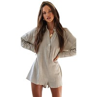 Long Sleeves Casual Rompers