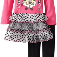Disney Little Girls' Minnie Mouse 2 Pieced Bow and Dress, Pink, 6X
