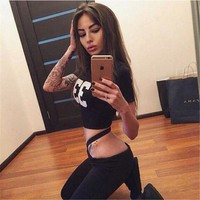 Print T-shirt and Bandage exercise sets  2 Two Piece Set Fitness Women Suits S0356