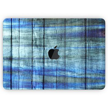 """Blue and Green Tye-Dyed Wood - Skin Decal Wrap Kit Compatible with the Apple MacBook Pro, Pro with Touch Bar or Air (11"""", 12"""", 13"""", 15"""" & 16"""" - All Versions Available)"""