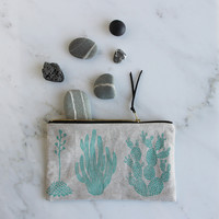 Cactus Pouch - Turquoise