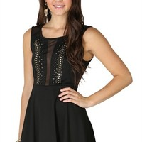 Skater Dress with Illusion Neckline and Studded Accents
