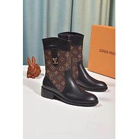 lv louis vuitton trending womens black leather side zip lace up ankle boots shoes high boots 218