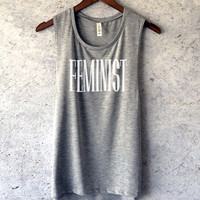 Feminist Muscle Tank Top in Heather Grey