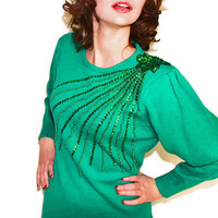 SALE Vintage Green Sequins Sweater Dress. Emerald Knit Shift Dress with Sequins Beads. St. Patrick's Day. Mad Men Fashion. Spring.
