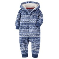Carter's Fairisle Hooded Fleece Coverall - Baby Boy, Size: