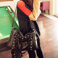 Retro Womens Cool Studs Boston Bags Shoulder Handbags Black Medium Casual Ae