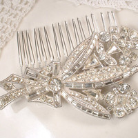 Art Deco Hair Comb, Antique Bridal Hairpiece Pave Rhinestone Floral Spray Hair Accessory, 1920s 1930s Vintage OOAK Gatsby Wedding Headpiece