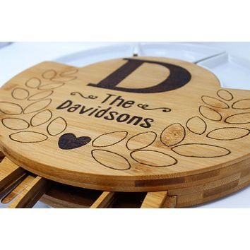 Monogrammed Cheese board | Personalized Cheese Board Set | Custom Cheese Board | Wooden Cheese Board | Charcuterie Board | Round