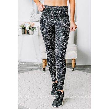 You Can't Sit With Us Marble Printed Leggings