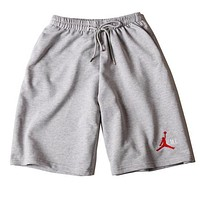 Jordan X Supreme Summer Popular Women Men Loose Logo Embroidery Sport Shorts Grey I12515-1