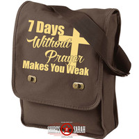 Bible Bag - Purse For Church Bibles 7 Days WIthout Prayer Makes You Weak Religious Messenger Bag Field Bags