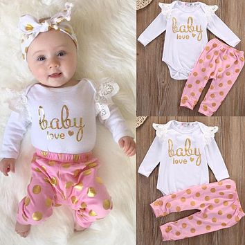 Toddler Infant Newborn Baby Girls Clothes Set Romper Long Sleeve Cotton Pants Jumpsuit Bodysuit Clothing Baby Girl Outfits