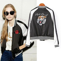 Rose&Tiger Head Embroidery Long Sleeve Jacket